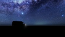 Van Microbus Is Riding On A Field Against The Background Of The Starry Sky 4k