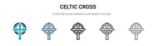 Celtic Cross Icon In Filled, T...