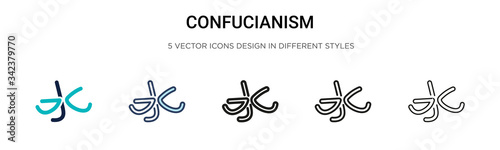 Valokuva Confucianism icon in filled, thin line, outline and stroke style