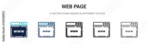 Fototapeta Web page icon in filled, thin line, outline and stroke style. Vector illustration of two colored and black web page vector icons designs can be used for mobile, ui, web obraz