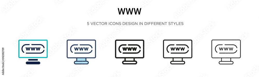 Fototapeta Www icon in filled, thin line, outline and stroke style. Vector illustration of two colored and black www vector icons designs can be used for mobile, ui, web