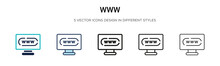 Www Icon In Filled, Thin Line,...