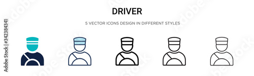 Obraz Driver icon in filled, thin line, outline and stroke style. Vector illustration of two colored and black driver vector icons designs can be used for mobile, ui, web - fototapety do salonu