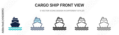 Cuadros en Lienzo Cargo ship front view icon in filled, thin line, outline and stroke style