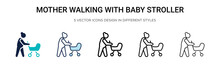 Mother Walking With Baby Strol...