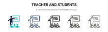Teacher And Students Icon In F...