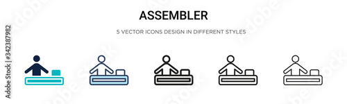 Assembler icon in filled, thin line, outline and stroke style Wallpaper Mural