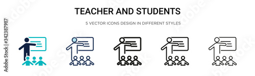 Fototapeta Teacher and students icon in filled, thin line, outline and stroke style