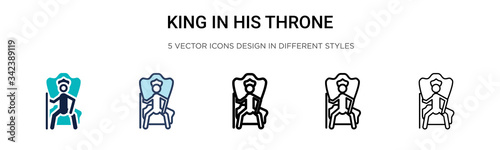 King in his throne icon in filled, thin line, outline and stroke style Canvas Print