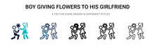 Boy Giving Flowers To His Girl...