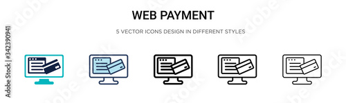 Tela Web payment icon in filled, thin line, outline and stroke style