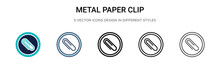 Metal Paper Clip Icon In Fille...