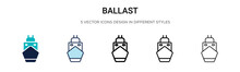 Ballast Icon In Filled, Thin Line, Outline And Stroke Style. Vector Illustration Of Two Colored And Black Ballast Vector Icons Designs Can Be Used For Mobile, Ui, Web