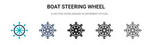 Boat Steering Wheel Icon In Fi...