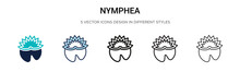 Nymphea Icon In Filled, Thin Line, Outline And Stroke Style. Vector Illustration Of Two Colored And Black Nymphea Vector Icons Designs Can Be Used For Mobile, Ui, Web