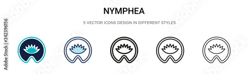 Nymphea icon in filled, thin line, outline and stroke style Wallpaper Mural