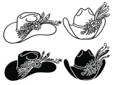 Cowboy Hat With Flowers. Set Of Vector Western Hats Floral Isolated On White. Cut File
