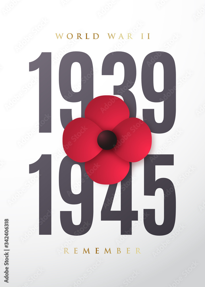Fototapeta World War II commemorative poster with poppy flower. May 8th. Remembrance day. Vector illustration.
