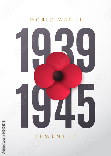 World War II commemorative poster with poppy flower Canvas Print