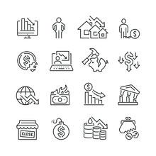 Economic Crisis Related Icons:...