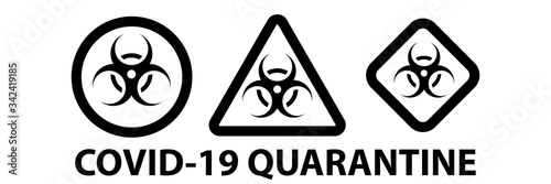 Set on Biohazard or biological threat alert icon Canvas Print