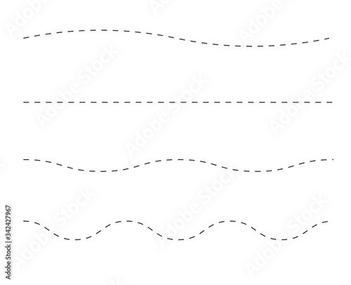 Obraz Path travel dotted line trip dashed trace destination track plan and silhouette, travelling symbol vector illustration - fototapety do salonu