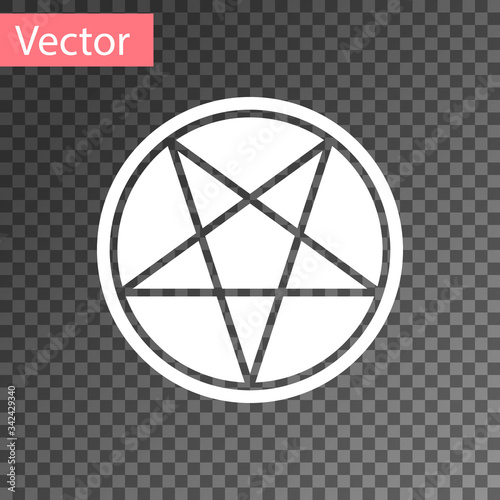 White Pentagram in a circle icon isolated on transparent background Wallpaper Mural