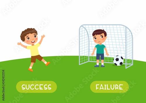 Antonyms concept, SUCCES and FAILURE Canvas Print