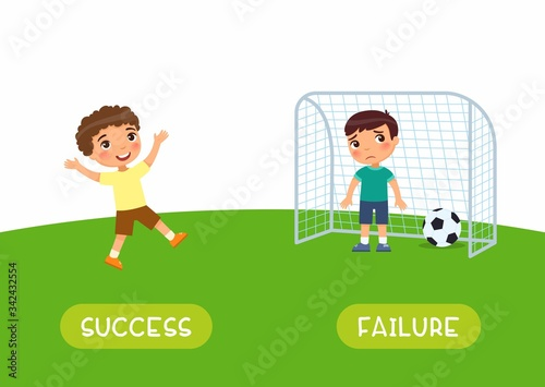 Photo Antonyms concept, SUCCES and FAILURE