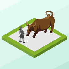 Isometric Vector Illustration Representing Charging Bull Statue, Landmark Of Wall Street, New York, United States Of America