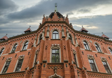 Front View Brick Building Of Higher Seminary In Krakow, Poland