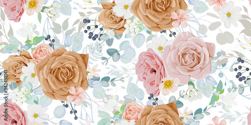Seamless vintage pattern with floral motif for summer dress fabric Canvas Print
