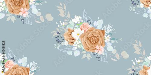 Obraz na plátně Seamless vintage pattern with floral motif for summer dress fabric