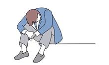 Hand Drawn Vector Illustration Of Businessman Sitting Lowering His Head.