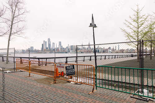 Hoboken, United States - April 1st, 2020: Parks are closed and cordoned off in Hoboken due to the Corona Virus Pandemic