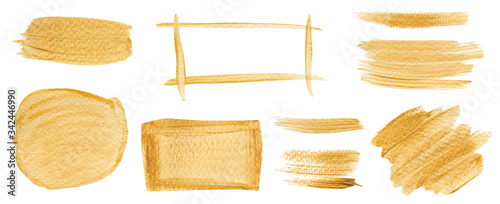 Group of acrylic golden brush strokes and abstract backgrounds Wallpaper Mural