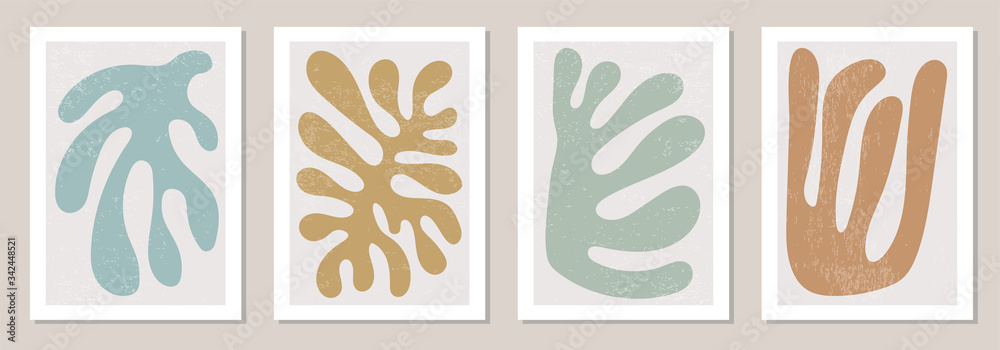 Fototapeta Set of Matisse inspired contemporary collage posters with abstract organic shapes in neutral colors