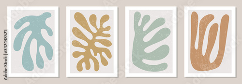 Obraz Set of Matisse inspired contemporary collage posters with abstract organic shapes in neutral colors - fototapety do salonu