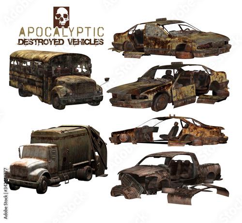 Fototapeta 3D Apocalyptic Destroyed Vehicles