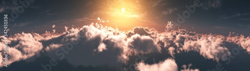 Beautiful clouds, panorama of clouds, above the clouds, clouds from above, flying above - 342450336