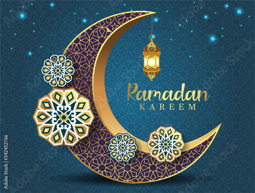 Fotografie, Obraz Crescent Islamic with Lantern for Ramadan Kareem