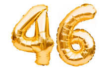 Number 46 Forty Six Made Of Golden Inflatable Balloons Isolated On White. Helium Balloons, Gold Foil Numbers. Party Decoration, Anniversary Sign For Holidays, Celebration, Birthday, Carnival
