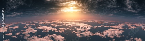 Beautiful clouds, panorama of clouds, above the clouds, clouds from above, flying above - 342457935