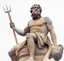 Abstract Image With Statue Of Ancient God Neptune With Trident. Patron Of Horses And Chariot Races. God Of Moisture, Springs, Water, Sea And Drought Protector.