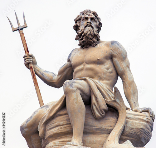 Fototapeta Abstract image with statue of ancient god Neptune with trident