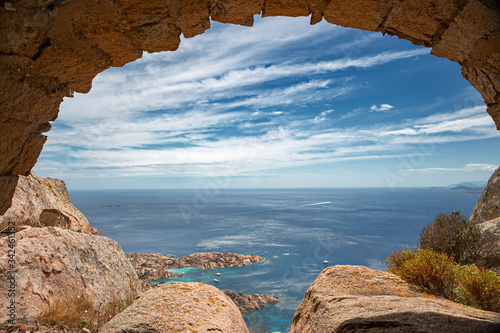 Ancient defensive structure on top of the wild island of Caprera in the Maddalena archipelago in Sardinia, Italy Canvas Print