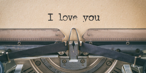 Text written with a vintage typewriter - i love you
