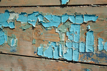 Cracked Old Blue Paint On Wooden Boards. Paint Residues On The Surface.