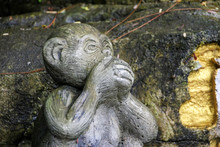 Stone Monkey Covering His Mout...