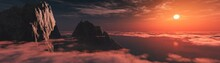 Sunset Over The Clouds Among T...